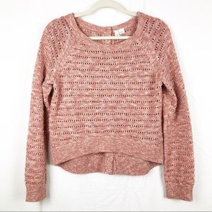 Moth Anthropologie Button Back Cropped Sweater L